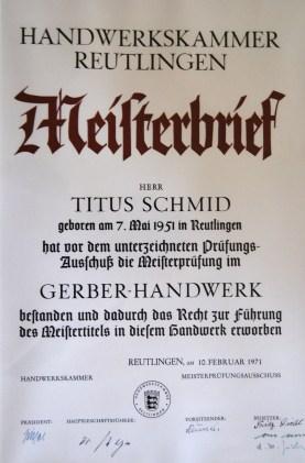 Meisterbrief Titus Schmid